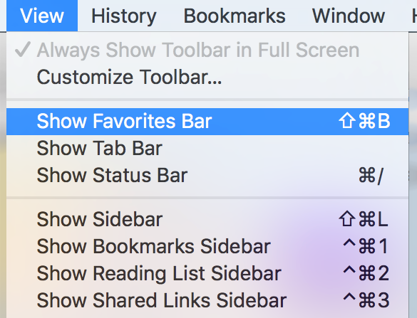 how to delete from favorites bar