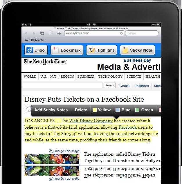 Web Highlighter for iPad Safari | Diigo